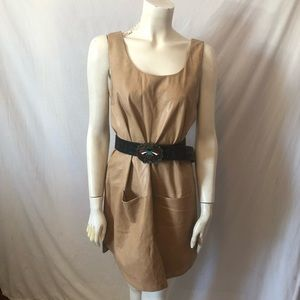 Vince soft leather shift smock dress
